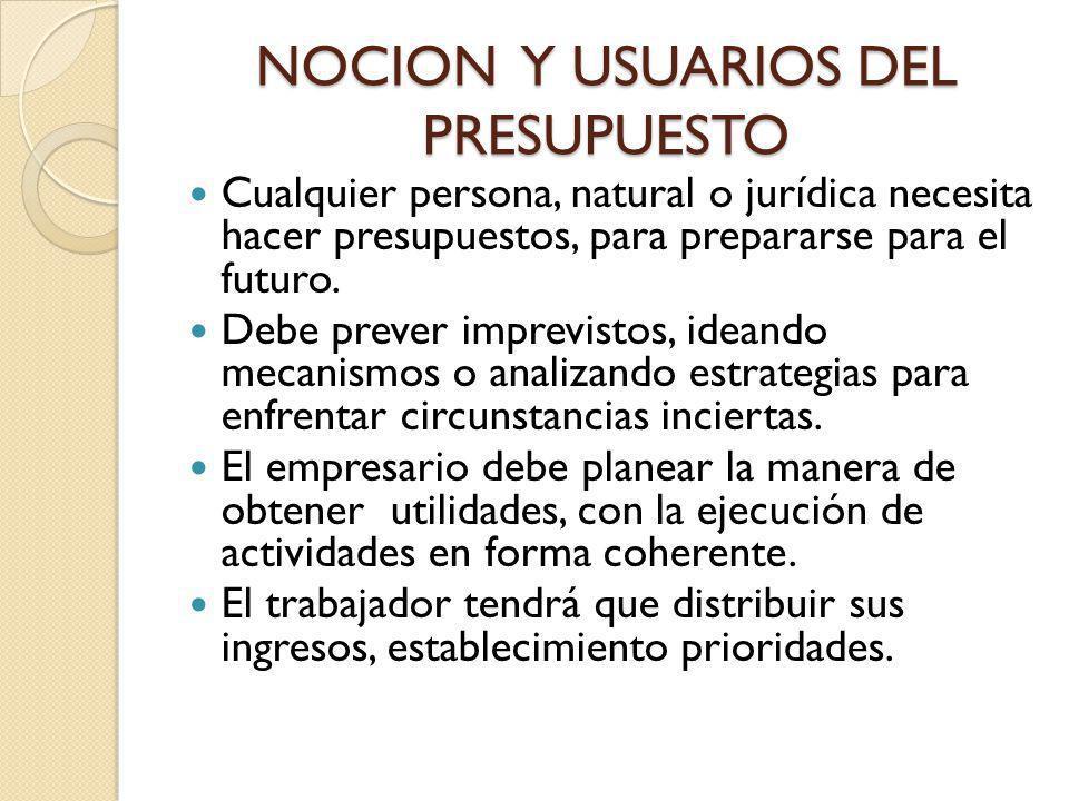 NOCION Y USUARIOS DEL PRESUPUESTO Cualquier persona, natural o jurídica necesita hacer presupuestos, para prepararse para el futuro. Debe prever impre