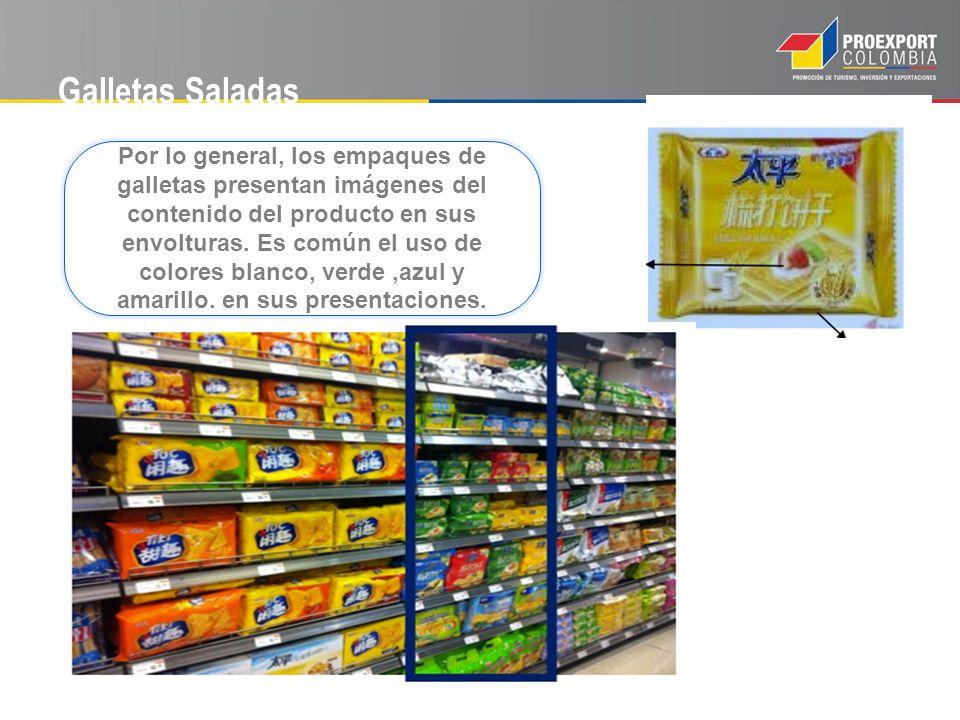 Galletas Saladas Por lo general, los empaques de galletas presentan imágenes del contenido del producto en sus envolturas. Es común el uso de colores