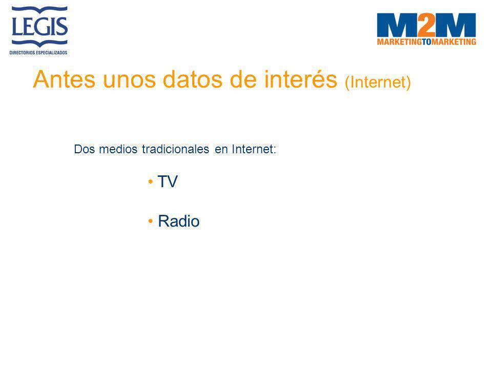 Antes unos datos de interés (Internet) Dos medios tradicionales en Internet: TV Radio