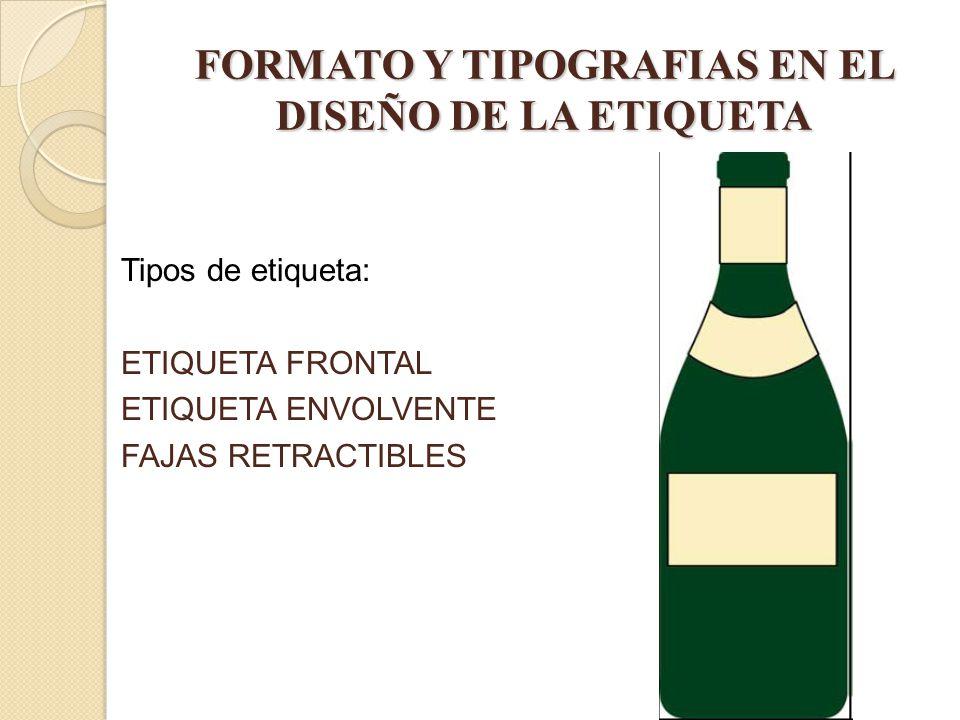 FORMATO Y TIPOGRAFIAS EN EL DISEÑO DE LA ETIQUETA Tipos de etiqueta: ETIQUETA FRONTAL ETIQUETA ENVOLVENTE FAJAS RETRACTIBLES