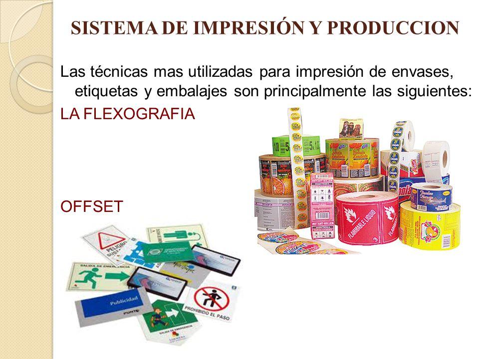 SISTEMA DE IMPRESIÓN Y PRODUCCION Las técnicas mas utilizadas para impresión de envases, etiquetas y embalajes son principalmente las siguientes: LA F