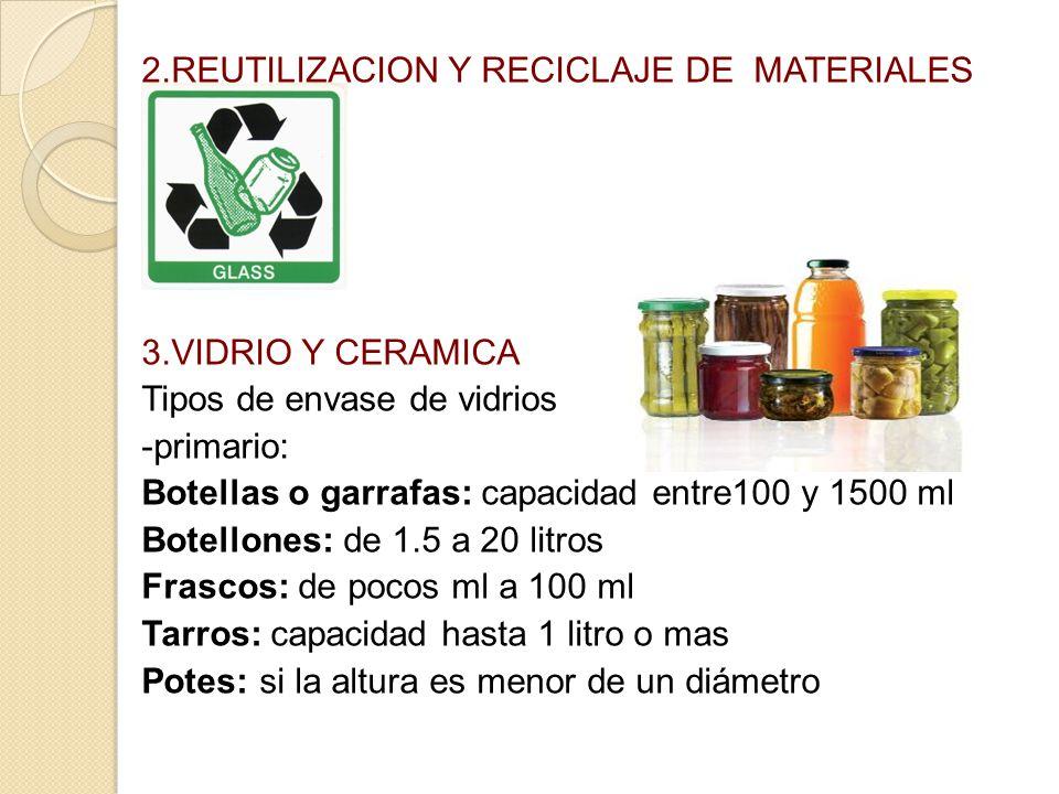 2.REUTILIZACION Y RECICLAJE DE MATERIALES 3.VIDRIO Y CERAMICA Tipos de envase de vidrios -primario: Botellas o garrafas: capacidad entre100 y 1500 ml