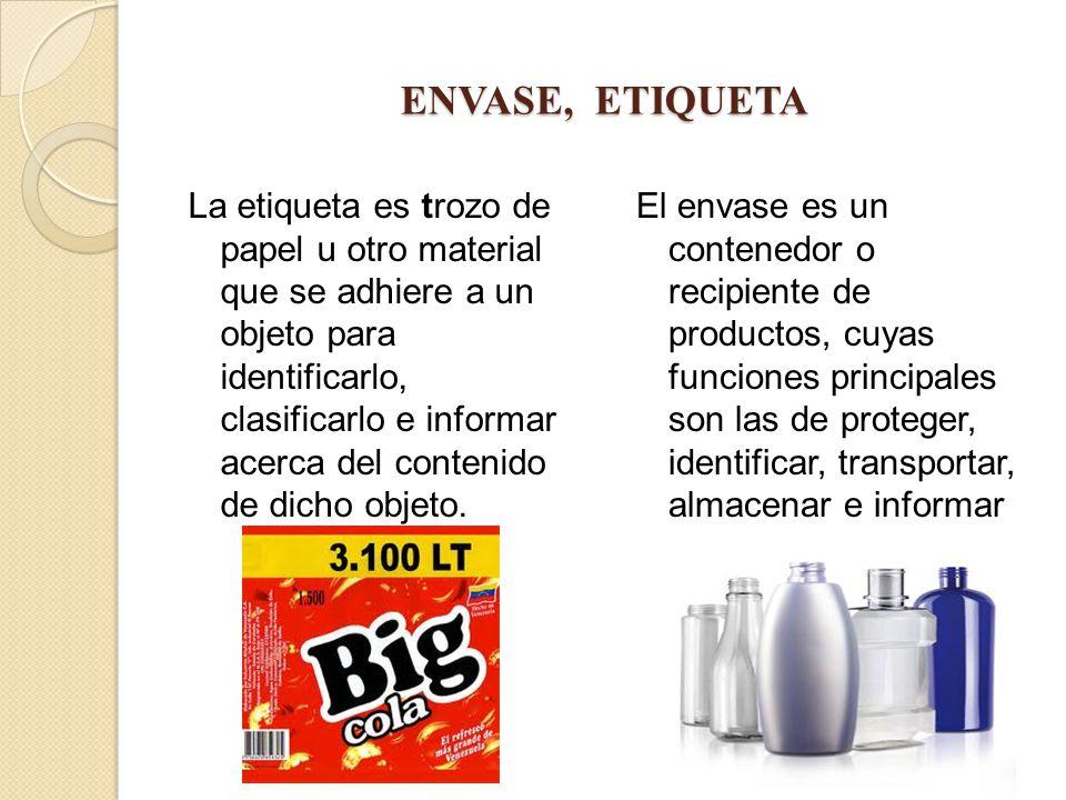 ENVASE, ETIQUETA La etiqueta es trozo de papel u otro material que se adhiere a un objeto para identificarlo, clasificarlo e informar acerca del conte