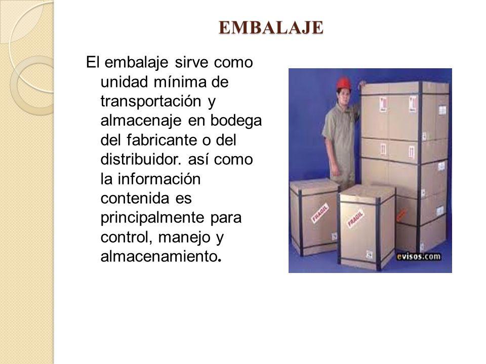 EMBALAJE El embalaje sirve como unidad mínima de transportación y almacenaje en bodega del fabricante o del distribuidor. así como la información cont