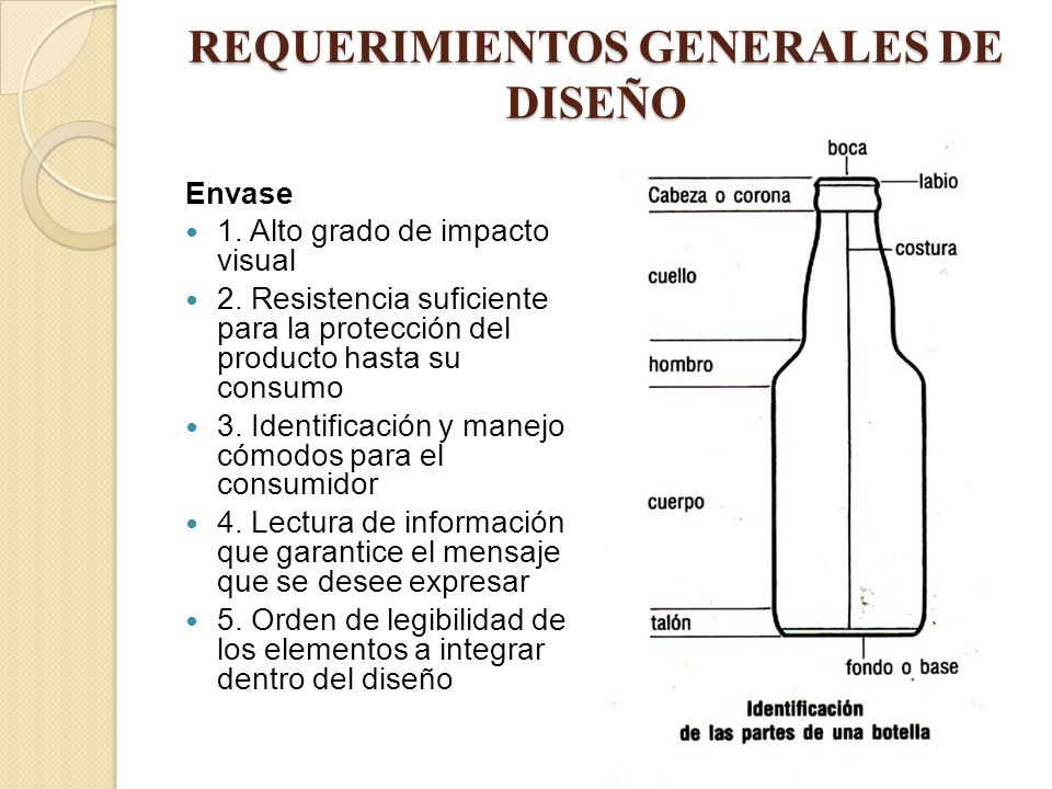 REQUERIMIENTOS GENERALES DE DISEÑO Envase 1. Alto grado de impacto visual 2. Resistencia suficiente para la protección del producto hasta su consumo 3