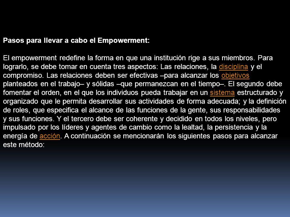 Pasos para llevar a cabo el Empowerment: El empowerment redefine la forma en que una institución rige a sus miembros.