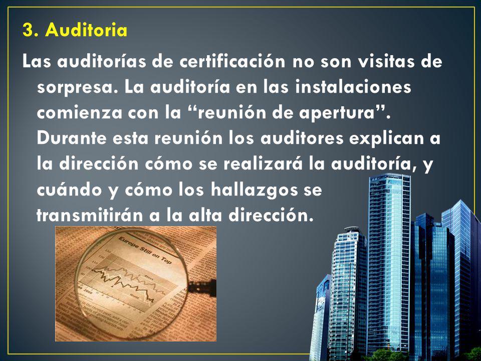 3. Auditoria Las auditorías de certificación no son visitas de sorpresa. La auditoría en las instalaciones comienza con la reunión de apertura. Durant