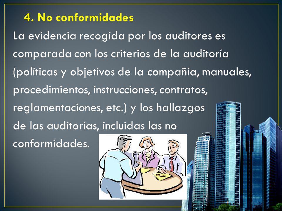 4. No conformidades La evidencia recogida por los auditores es comparada con los criterios de la auditoría (políticas y objetivos de la compañía, manu
