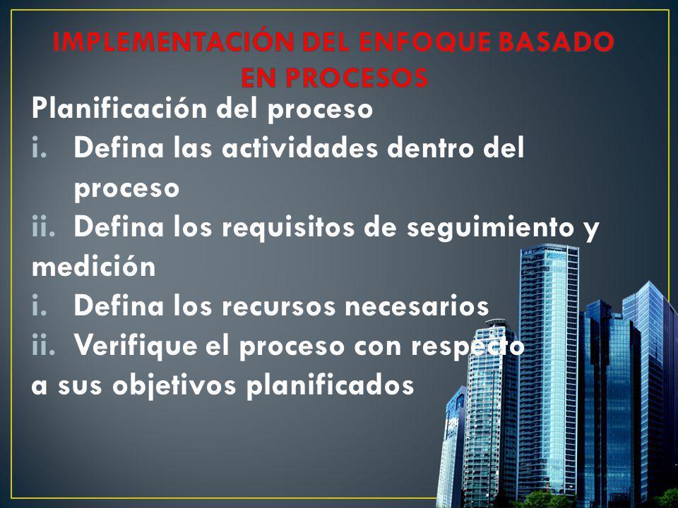Planificación del proceso i.Defina las actividades dentro del proceso ii.Defina los requisitos de seguimiento y medición i.Defina los recursos necesar
