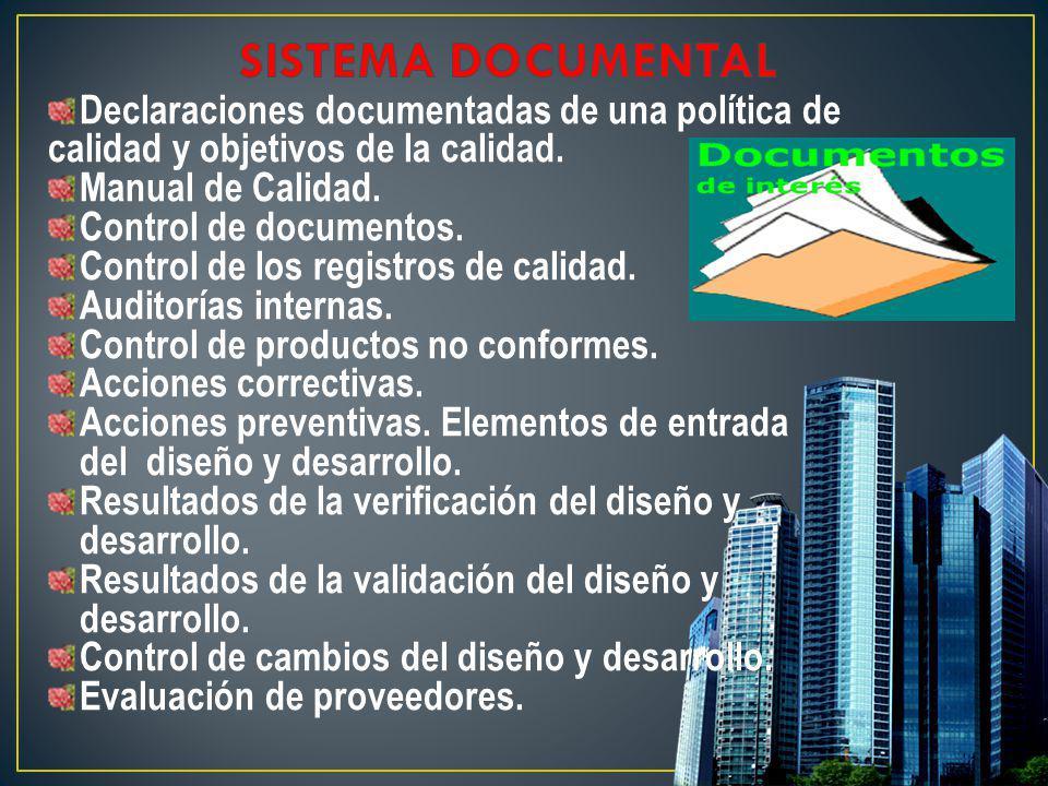 Declaraciones documentadas de una política de calidad y objetivos de la calidad. Manual de Calidad. Control de documentos. Control de los registros de