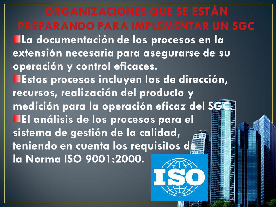 La documentación de los procesos en la extensión necesaria para asegurarse de su operación y control eficaces. Estos procesos incluyen los de direcció