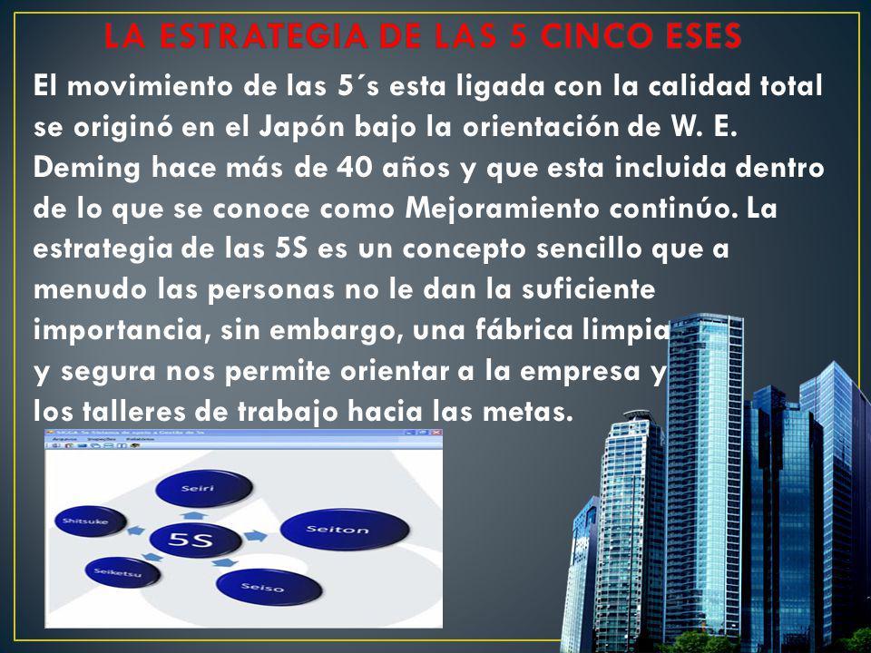 El movimiento de las 5´s esta ligada con la calidad total se originó en el Japón bajo la orientación de W. E. Deming hace más de 40 años y que esta in