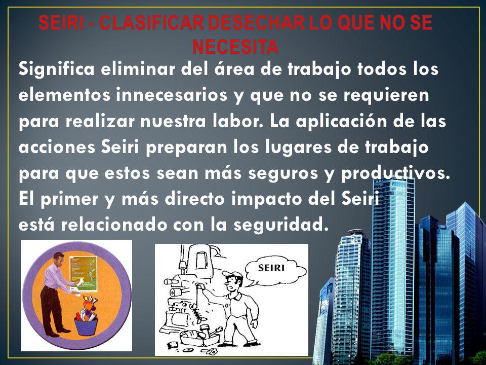 Significa eliminar del área de trabajo todos los elementos innecesarios y que no se requieren para realizar nuestra labor. La aplicación de las accion