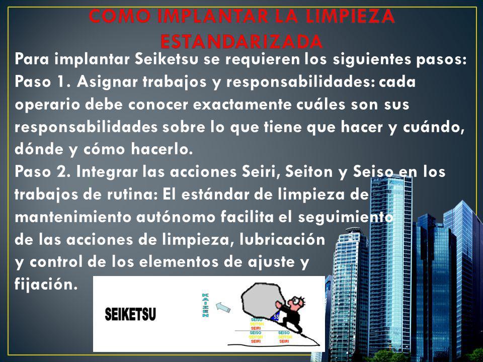 Para implantar Seiketsu se requieren los siguientes pasos: Paso 1. Asignar trabajos y responsabilidades: cada operario debe conocer exactamente cuáles