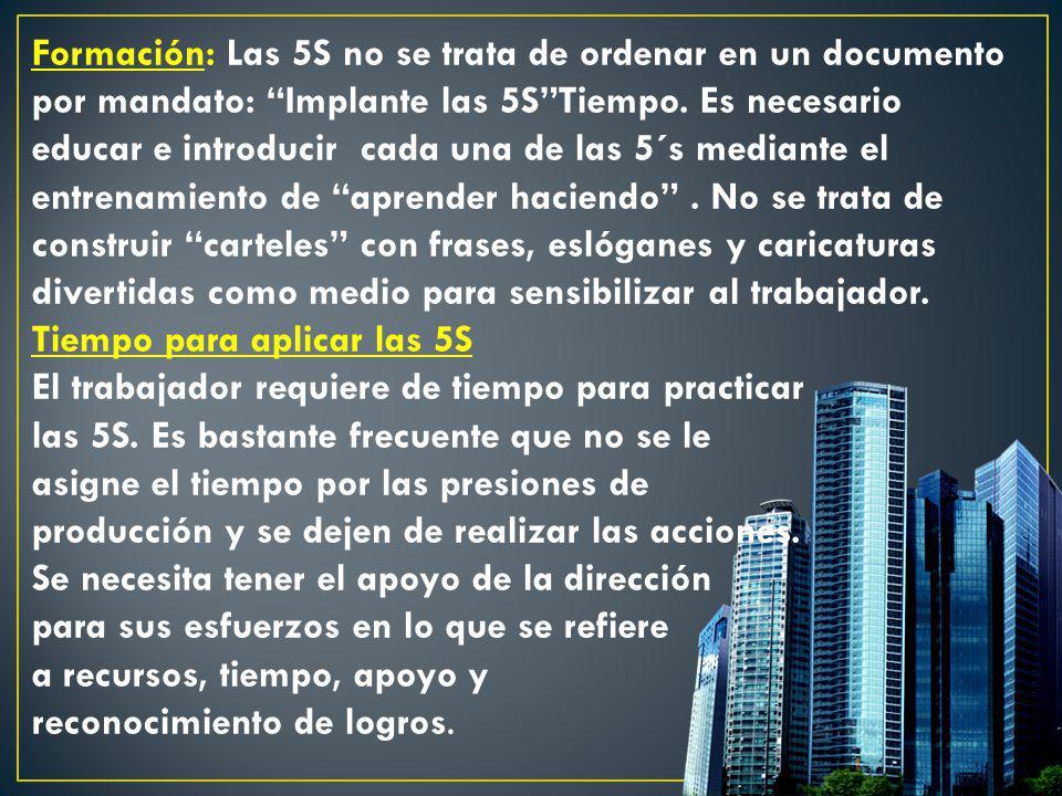 Formación: Las 5S no se trata de ordenar en un documento por mandato: Implante las 5STiempo. Es necesario educar e introducir cada una de las 5´s medi
