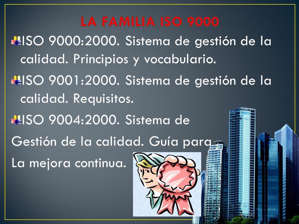 ISO 9000:2000. Sistema de gestión de la calidad. Principios y vocabulario. ISO 9001:2000. Sistema de gestión de la calidad. Requisitos. ISO 9004:2000.