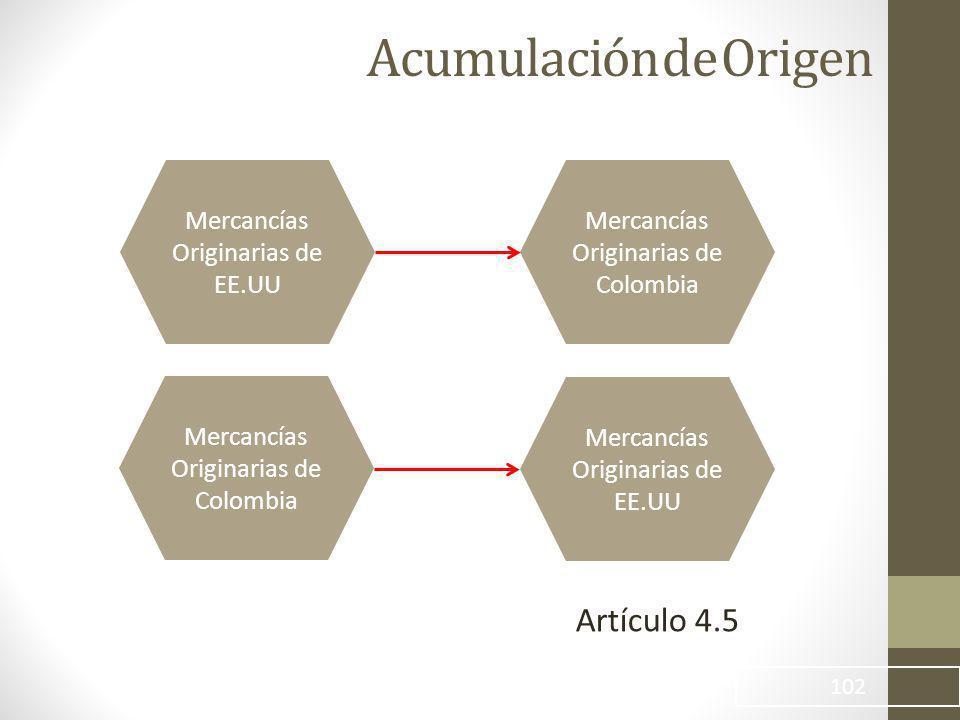 Acumulación de Origen 102 Mercancías Originarias de EE.UU Mercancías Originarias de Colombia Mercancías Originarias de EE.UU Artículo 4.5