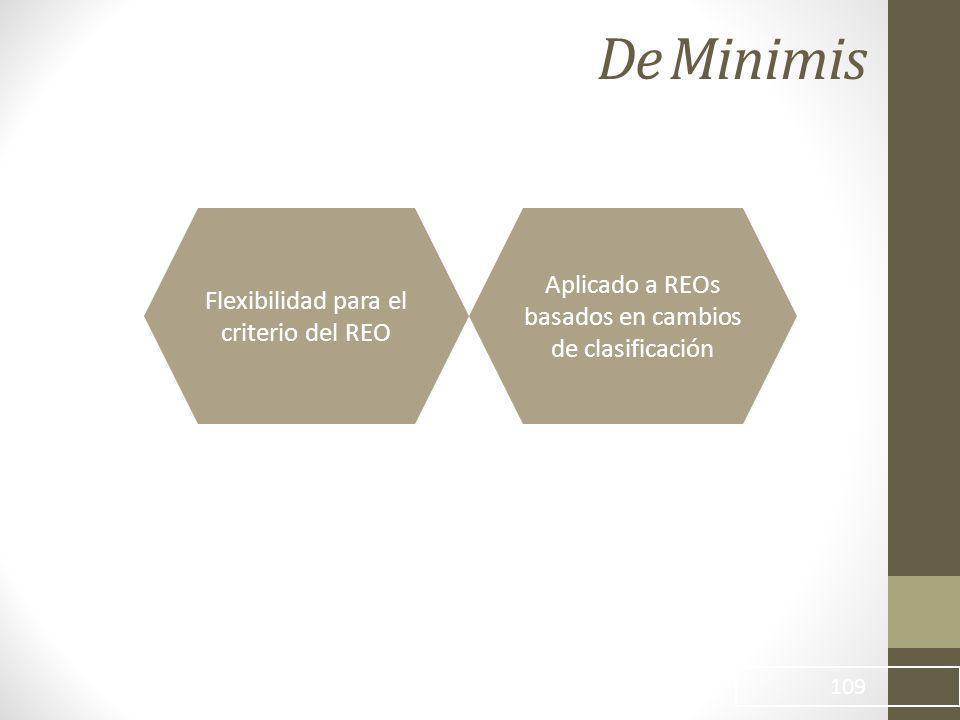 De Minimis 109 Flexibilidad para el criterio del REO Aplicado a REOs basados en cambios de clasificación