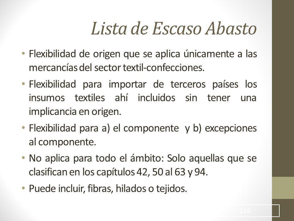 Lista de Escaso Abasto Flexibilidad de origen que se aplica únicamente a las mercancías del sector textil-confecciones.