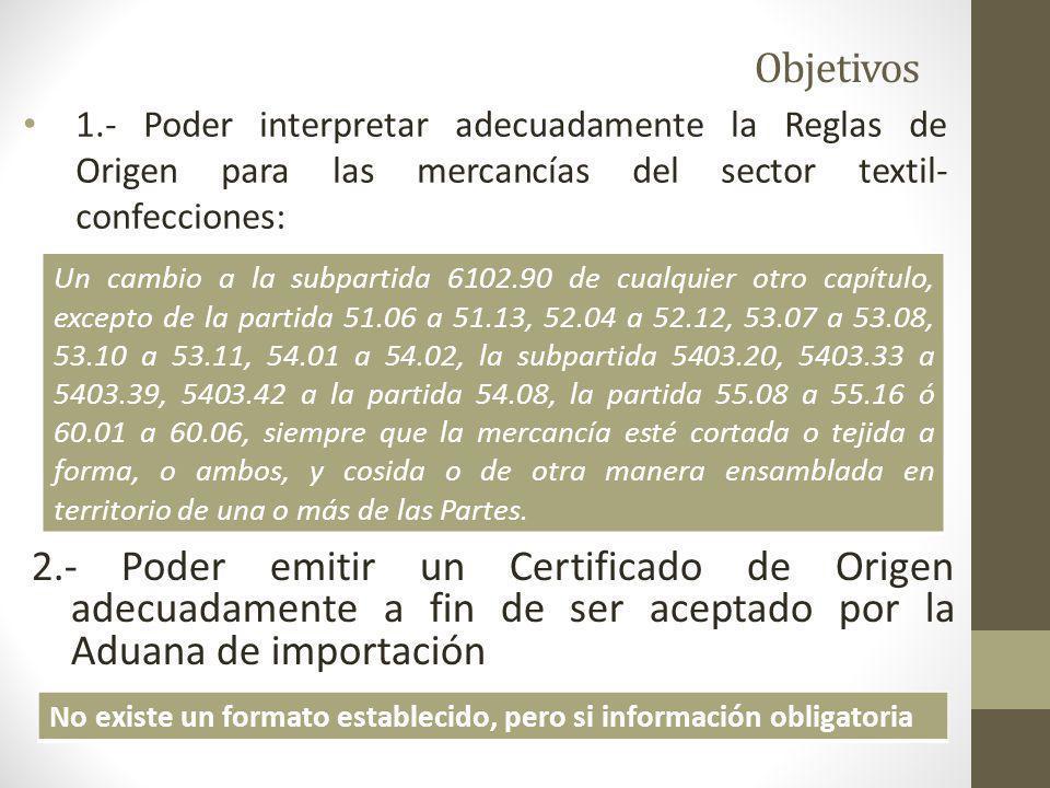 Objetivos 1.- Poder interpretar adecuadamente la Reglas de Origen para las mercancías del sector textil- confecciones: 2.- Poder emitir un Certificado de Origen adecuadamente a fin de ser aceptado por la Aduana de importación Un cambio a la subpartida 6102.90 de cualquier otro capítulo, excepto de la partida 51.06 a 51.13, 52.04 a 52.12, 53.07 a 53.08, 53.10 a 53.11, 54.01 a 54.02, la subpartida 5403.20, 5403.33 a 5403.39, 5403.42 a la partida 54.08, la partida 55.08 a 55.16 ó 60.01 a 60.06, siempre que la mercancía esté cortada o tejida a forma, o ambos, y cosida o de otra manera ensamblada en territorio de una o más de las Partes.