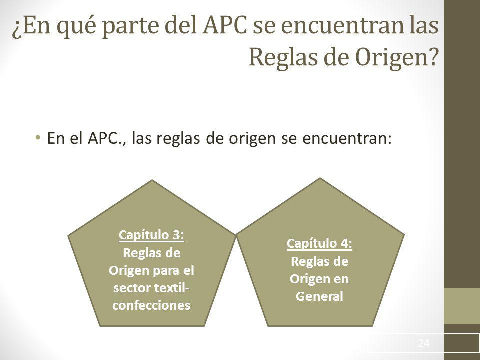 ¿En qué parte del APC se encuentran las Reglas de Origen.
