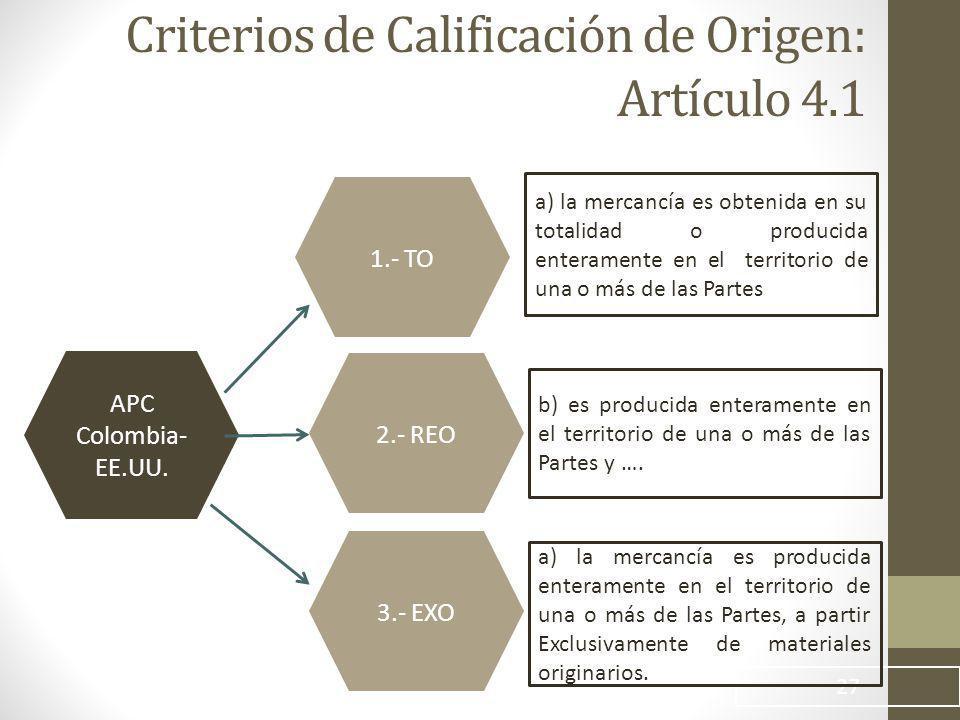 Criterios de Calificación de Origen: Artículo 4.1 27 APC Colombia- EE.UU.