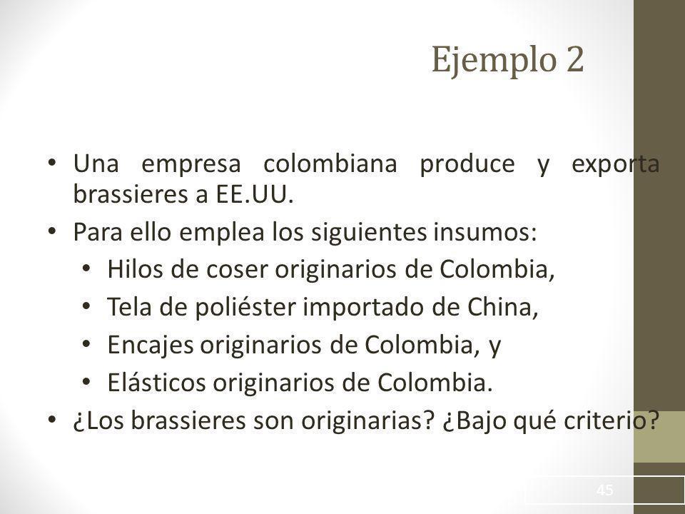 45 Ejemplo 2 Una empresa colombiana produce y exporta brassieres a EE.UU.