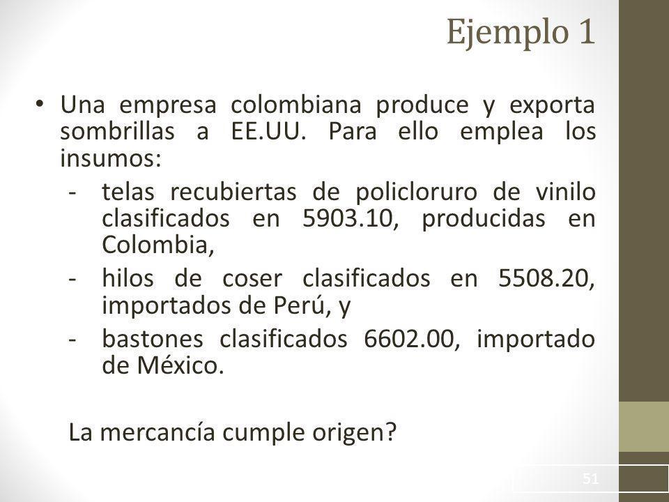 51 Ejemplo 1 Una empresa colombiana produce y exporta sombrillas a EE.UU.