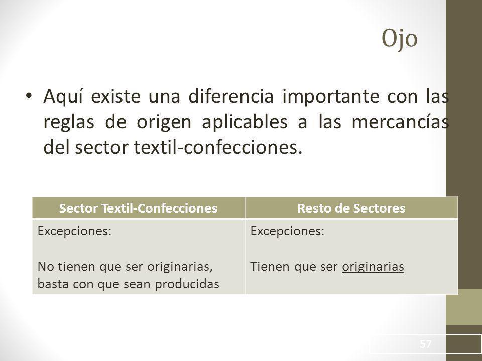Ojo Aquí existe una diferencia importante con las reglas de origen aplicables a las mercancías del sector textil-confecciones.