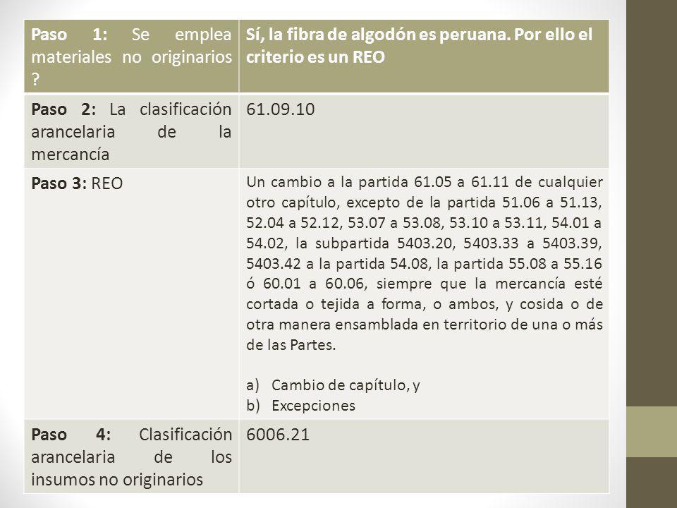 Paso 1: Se emplea materiales no originarios .Sí, la fibra de algodón es peruana.