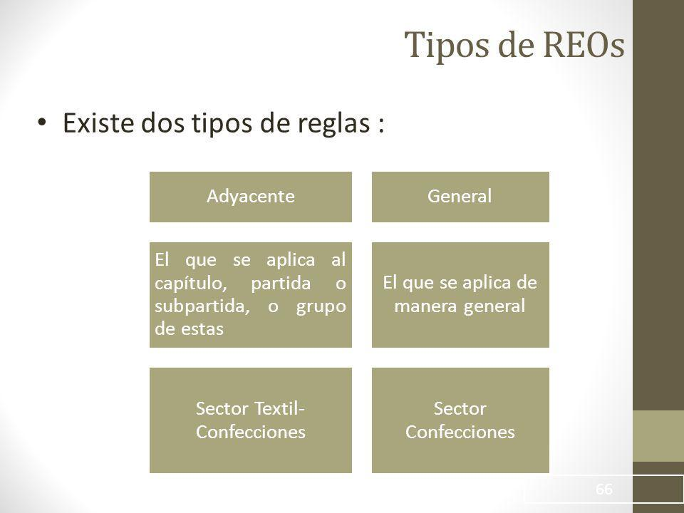 Tipos de REOs Existe dos tipos de reglas : 66 AdyacenteGeneral El que se aplica al capítulo, partida o subpartida, o grupo de estas El que se aplica de manera general Sector Textil- Confecciones Sector Confecciones