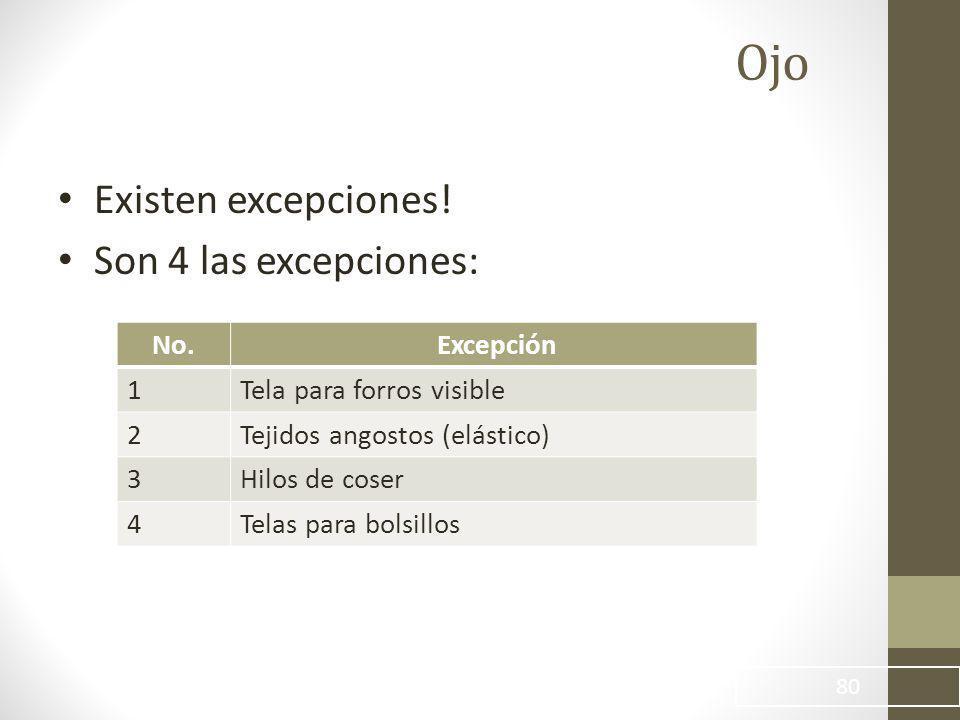 Ojo 80 Existen excepciones.Son 4 las excepciones: No.