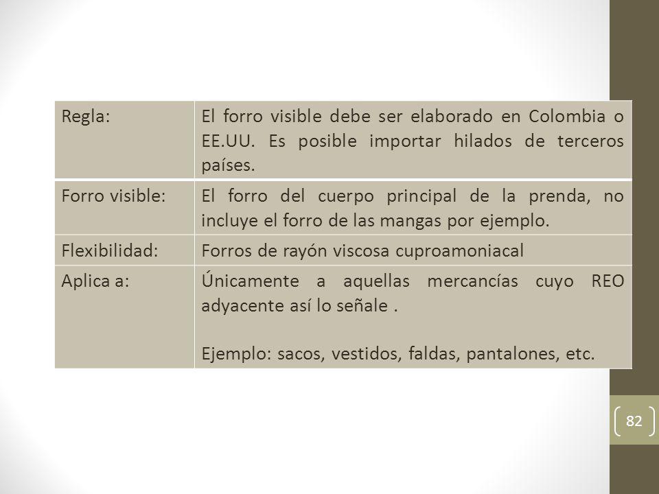 82 Regla:El forro visible debe ser elaborado en Colombia o EE.UU.
