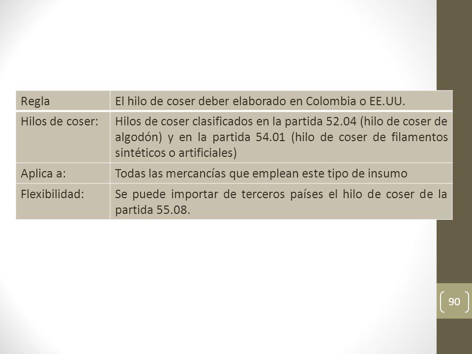 90 ReglaEl hilo de coser deber elaborado en Colombia o EE.UU.