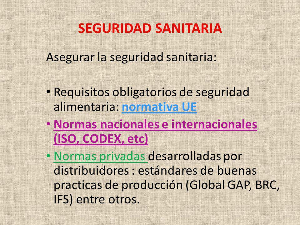 SEGURIDAD SANITARIA Asegurar la seguridad sanitaria: Requisitos obligatorios de seguridad alimentaria: normativa UE Normas nacionales e internacionale