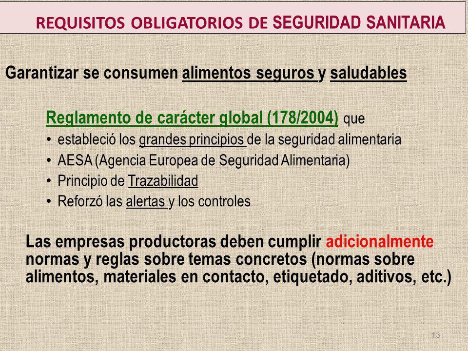 REQUISITOS OBLIGATORIOS DE SEGURIDAD SANITARIA Garantizar se consumen alimentos seguros y saludables Reglamento de carácter global (178/2004) que esta