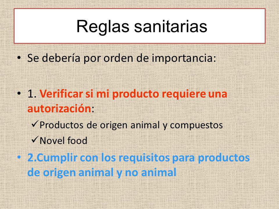 Reglas sanitarias Se debería por orden de importancia: 1. Verificar si mi producto requiere una autorización: Productos de origen animal y compuestos