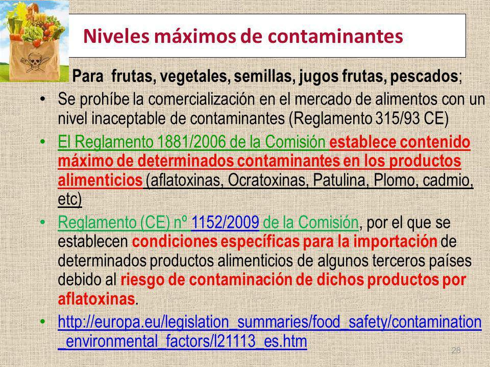 Niveles máximos de contaminantes Para frutas, vegetales, semillas, jugos frutas, pescados ; Se prohíbe la comercialización en el mercado de alimentos