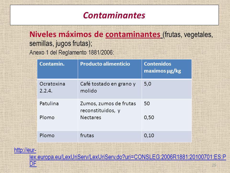 Contaminantes Niveles máximos de contaminantes (frutas, vegetales, semillas, jugos frutas); Anexo 1 del Reglamento 1881/2006: http://eur- lex.europa.e