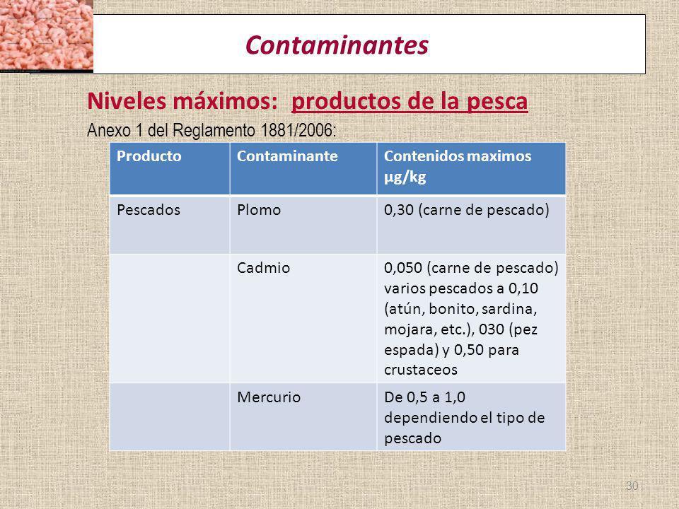 Contaminantes Niveles máximos: productos de la pesca Anexo 1 del Reglamento 1881/2006: 30 ProductoContaminanteContenidos maximos µg/kg PescadosPlomo0,
