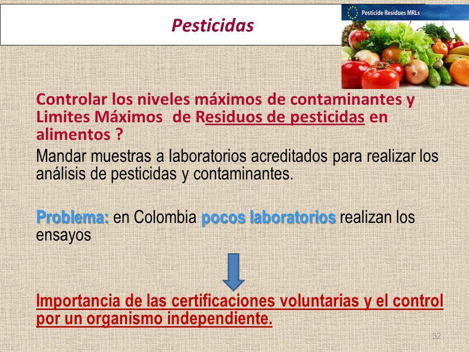 ereira 22 Marzo 2012 Pesticidas Controlar los niveles máximos de contaminantes y Limites Máximos de Residuos de pesticidas en alimentos ? Mandar muest