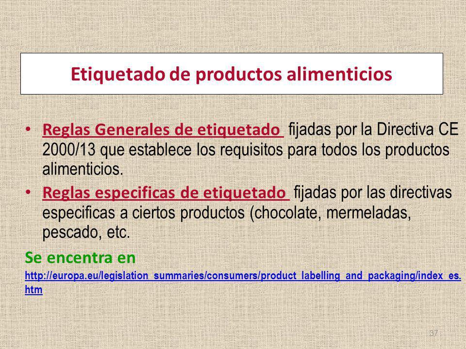 Etiquetado de productos alimenticios Reglas Generales de etiquetado fijadas por la Directiva CE 2000/13 que establece los requisitos para todos los pr