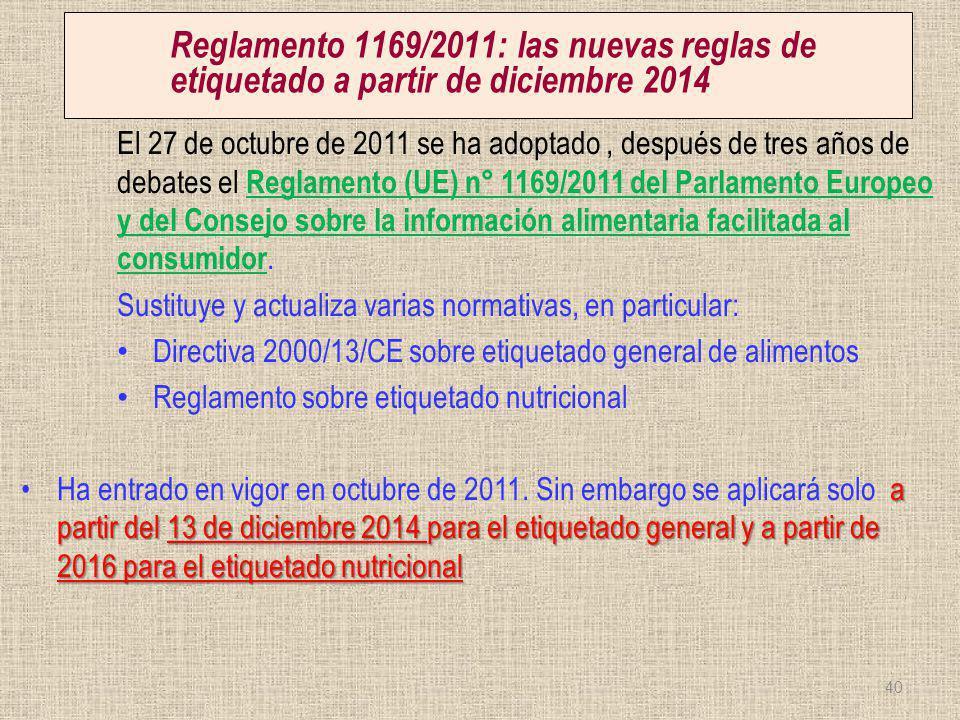Reglamento 1169/2011: las nuevas reglas de etiquetado a partir de diciembre 2014 El 27 de octubre de 2011 se ha adoptado, después de tres años de deba