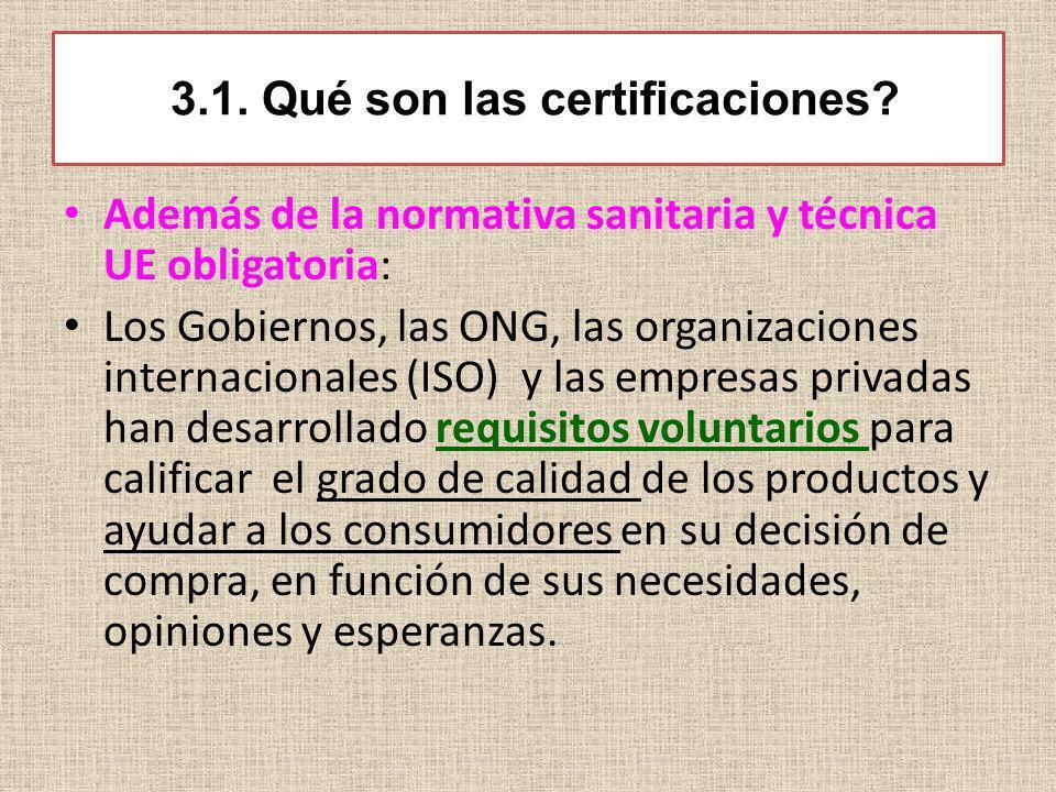 3.1. Qué son las certificaciones? Además de la normativa sanitaria y técnica UE obligatoria: Los Gobiernos, las ONG, las organizaciones internacionale