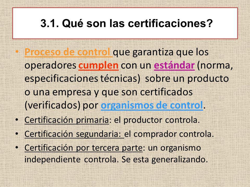 3.1. Qué son las certificaciones? Proceso de control que garantiza que los operadores cumplen con un estándar (norma, especificaciones técnicas) sobre