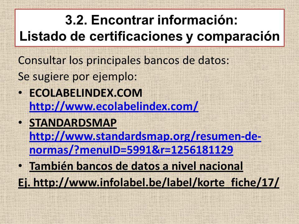 3.2. Encontrar información: Listado de certificaciones y comparación Consultar los principales bancos de datos: Se sugiere por ejemplo: ECOLABELINDEX.