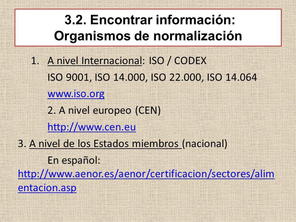 3.2. Encontrar información: Organismos de normalización 1.A nivel Internacional: ISO / CODEX ISO 9001, ISO 14.000, ISO 22.000, ISO 14.064 www.iso.org