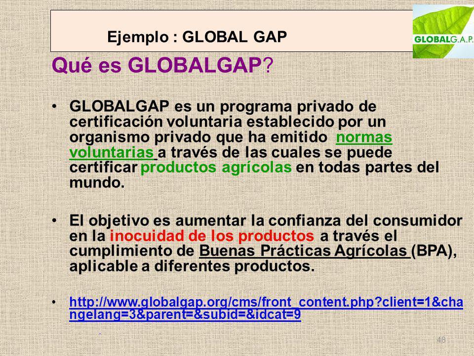 Ejemplo : GLOBAL GAP Qué es GLOBALGAP? GLOBALGAP es un programa privado de certificación voluntaria establecido por un organismo privado que ha emitid