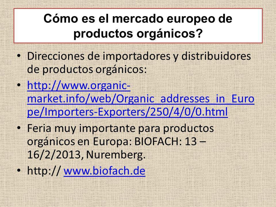 Cómo es el mercado europeo de productos orgánicos? Direcciones de importadores y distribuidores de productos orgánicos: http://www.organic- market.inf