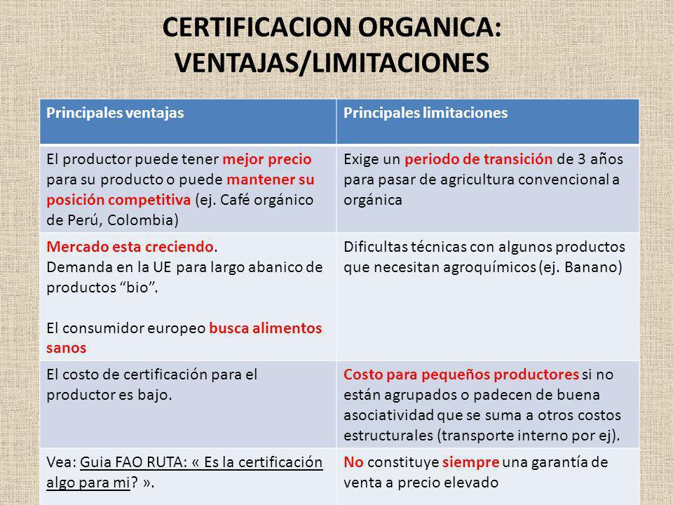 CERTIFICACION ORGANICA: VENTAJAS/LIMITACIONES Principales ventajasPrincipales limitaciones El productor puede tener mejor precio para su producto o pu